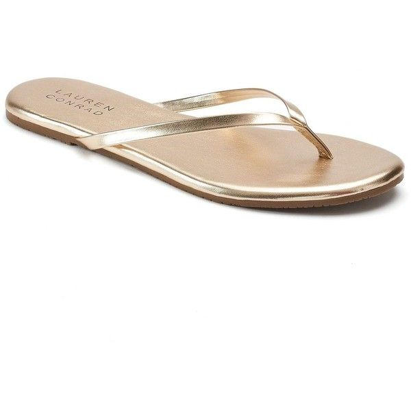 LC Lauren Conrad Pixii Women's Flip Flops ($9.99) ❤ liked on Polyvore featuring shoes, sandals, flip flops, gold, slip on sandals, strappy flip flops, strappy sandals, open toe sandals and flat thong sandals