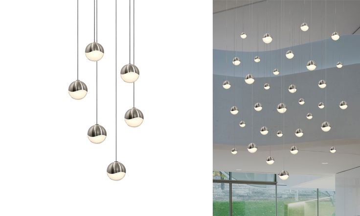 Staires - frosted shades hide bulbs - grapes 6-Light Round Small Pendant(2915.13-SML) Sonneman awayoflight