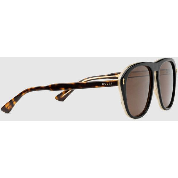 Gucci Aviator Acetate Sunglasses (535 BAM) ❤ liked on Polyvore featuring men's fashion, men's accessories, men's eyewear, men's sunglasses, mens tortoise shell sunglasses, mens aviator sunglasses and gucci mens sunglasses