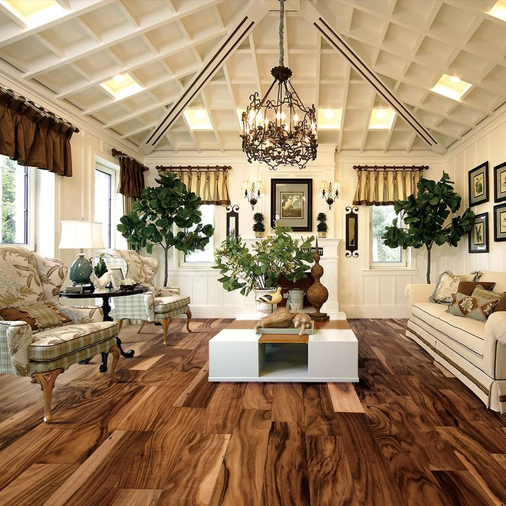 A little too formal of a setting for me, but love the Acacia floor and chandelier!