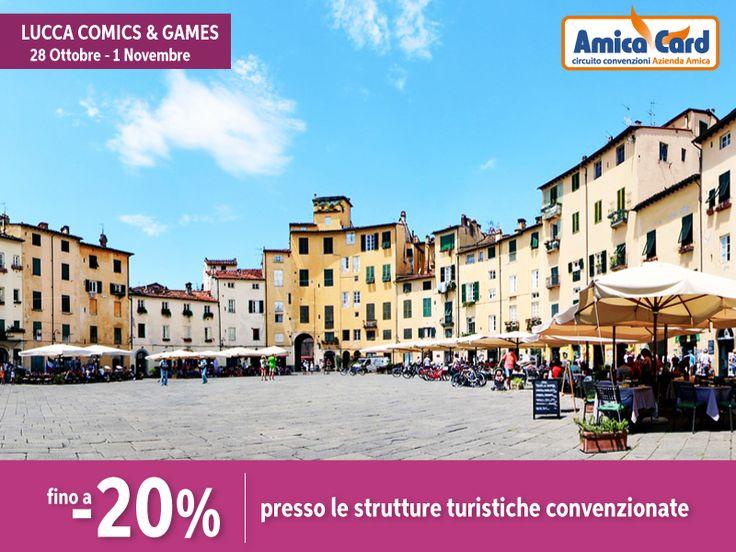 VIENI AL LUCCA COMICS & GAMES CON GLI SCONTI AMICA CARD. Il più emozionante appuntamento europeo nell'ambito dei #fumetti e del #fantasy ti aspetta dal 28 ottobre al 1 novembre. Numerose strutture turistiche convenzionate ti offriranno sconti fino al 20%. Registrati subito e scarica gli #sconti su AmicaCard.it  #LuccaCG16 #Lucca #festival #città #Italia #risparmio #AmicaCard #convenzioni