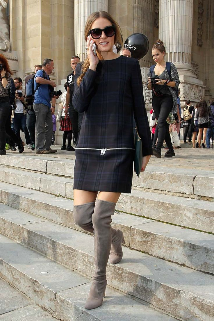 #OliviaPalermo wearing a #Zara dress, tartan... and high boots