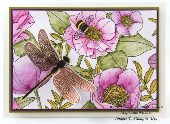 #thecraftythinker, Stampin Up, Sale-A-Bration, Inside The Lines, Dragonfly Dreams