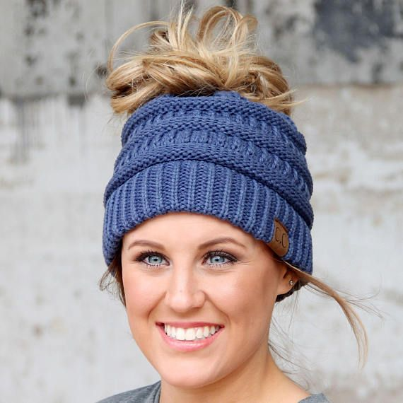 Super popular Messy Bun Beanies from CC company. Super cute winter beanie  that your ponytail or bun can poke out of the top. No more flat hair when  you ... 70ecb724cf10