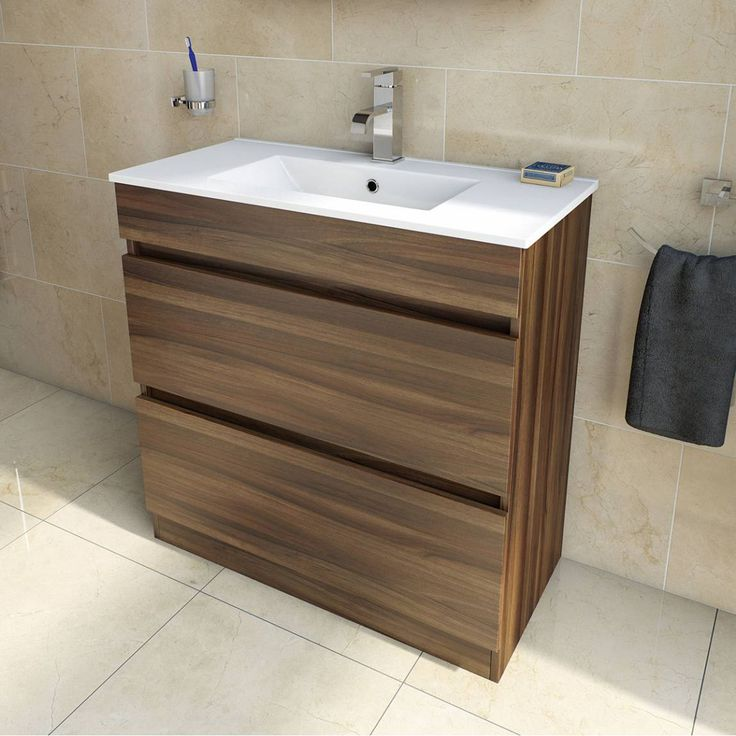 Plan Walnut Floor Mounted 800 Drawer Unit & Inset Basin