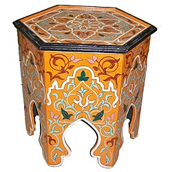 @Overstock - rich colors handpPainted Moroccan hexagonal table. http://www.overstock.com/Worldstock-Fair-Trade/Handpainted-Arabesque-II-Wooden-End-Table-Morocco/7029409/product.html?CID=214117 $219.99