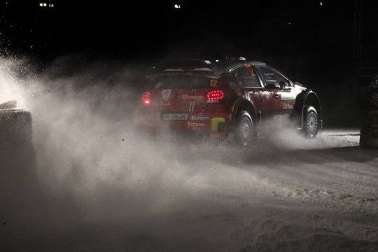 Thierry Neuville leads Rally Sweden after two snow filled and dramatic days by 22.7 seconds with tomorrow's short leg remaining.    Overall positions:  1. T Neuville / N Gilsoul BEL Hyundai i20 2hr 23min 23.8sec  2. C Breen / S Martin IRE Citroën C3 + 22.7sec  3. A Mikkelsen / A Jaeger NOR Hyundai i20 + 32.0sec  4. H Paddon / S Marshall NZL Hyundai i20 + 48.6sec  5. M Østberg / T Eriksen NOR Citroën C3 + 56.8sec