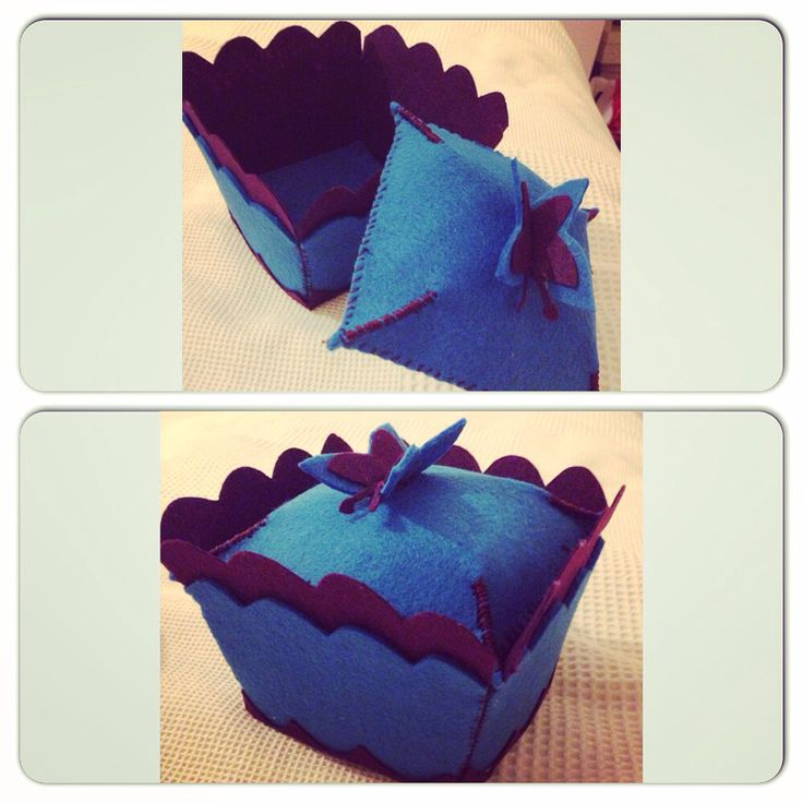 Felt box with butterfly cover