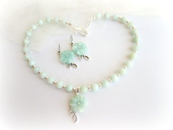 Amazonite necklace and earring set carved by MalinaCapricciosa