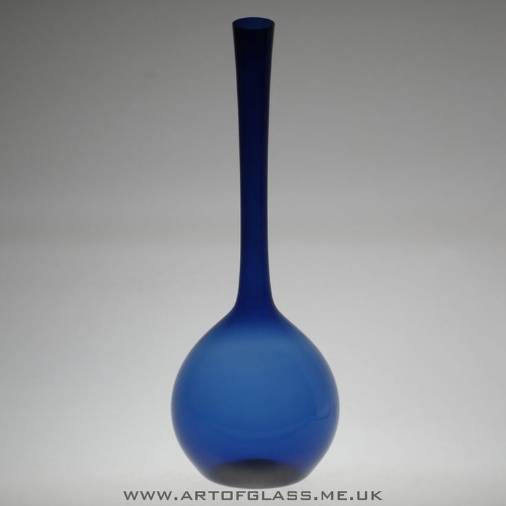 "Gullaskruf 15.5"" tall blue glass bottle vase by Arthur Percy."