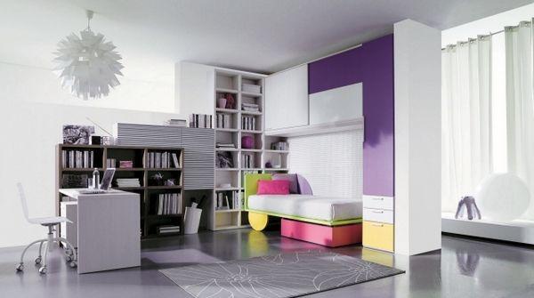 chambre adolescente fille violet blanc