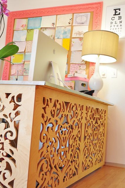 pink office desk at papaya by liquidskyarts, via Flickr