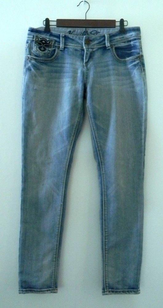 2823129be00 Vanilla Star Womens Jeans Low Rise Light Wash Embroidery Studded Junior  Size 11 #VanillaStar #SlimSkinny