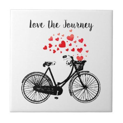 Love the Journey Inspirational Vintage Bike hearts Ceramic Tile - home gifts ideas decor special unique custom individual customized individualized