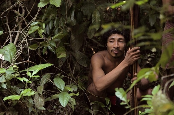 Awa Tribe of Brazil: Awá HunterCredit: ©SurvivalA young man rests in the forest on a hunting expedition. Many family groups go off on extended hunts lasting several weeks, where they sleep in palm leaf shelters in the forest and make torches out of tree resin.