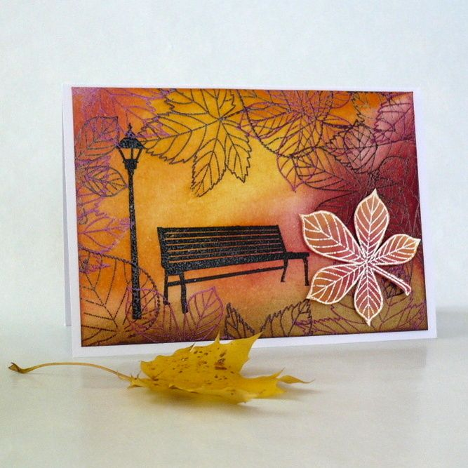 Autumn card created by Penny Black stamps and inks Distress Ink - park bench, lantern, sheets, autumn