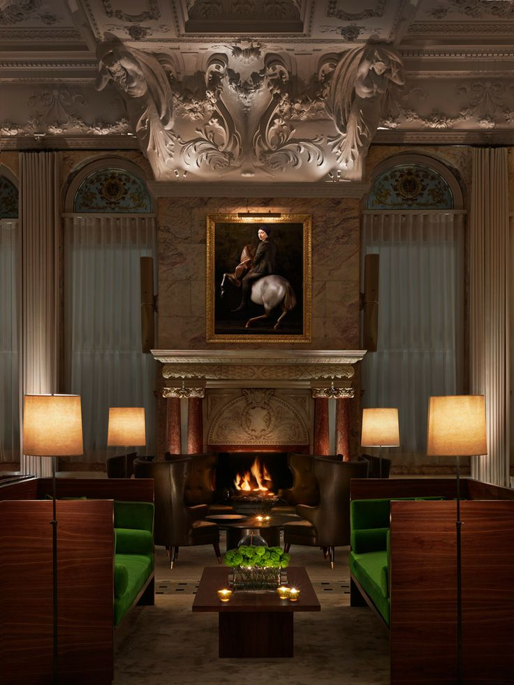 Showing 3 layers of lighting - lamps, picture light and directional uplighting to highlight the ceiling.  Adds a a further 3D effect to the room  Gallery - Edition Hotels