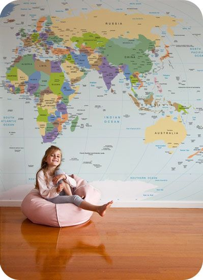 Removable wallpaper world map