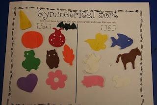 Mrs. Lee's Kindergarten: More Symmetry!  Love the symmetrical sort for our math journals!