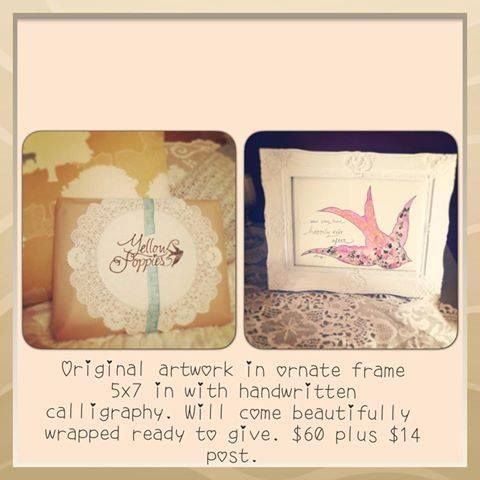 """Original watercolour, mixed media swallow artwork with handwritten calligraphy quote """"and they lived happily ever after"""""""