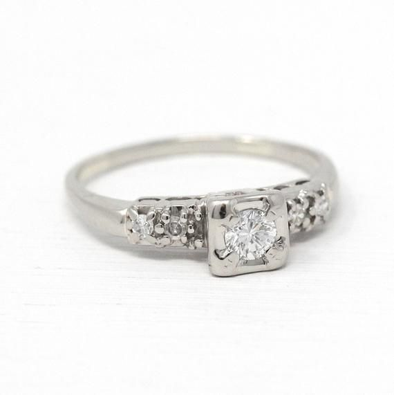 Stunning Vintage 10k White Gold Diamond Engagement Ring This Timeless Piece Features A Genuine Diamond Center Weig Antique Engagement Rings Vintage Engagement Rings Engagement