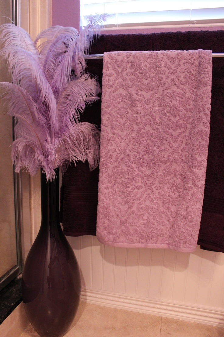 42 best girly bathrooms images on pinterest home dream purple bathroom had to have the fabulous feathers