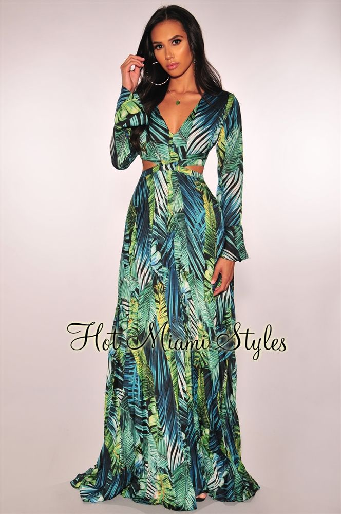 b86d3dea24 Green Palm Print Cut Out Long Sleeves Pleated Maxi Dress in 2019 ...