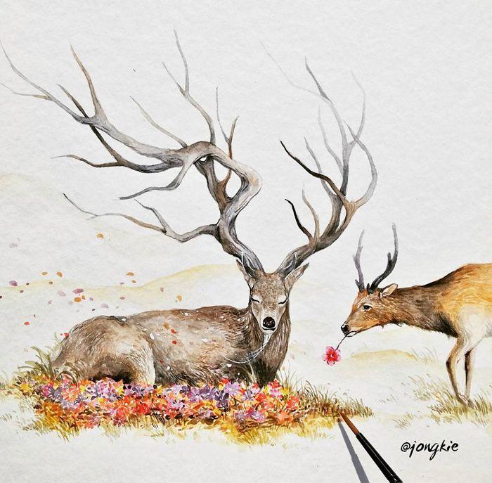 Luqman Reza Mulyono, aka jongkie, est un artiste indonésien inspiré qui réalise de magnifiques aquarelles d'animaux dans son style particulier.