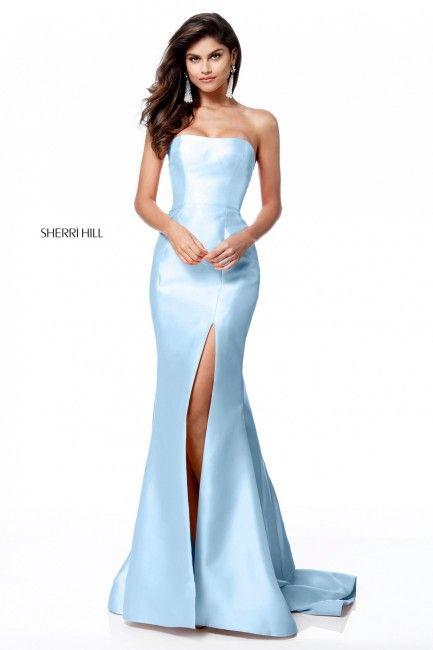 7dc979c1423 Sherri Hill 51671 Strapless High Slit Formal Dress in 2019