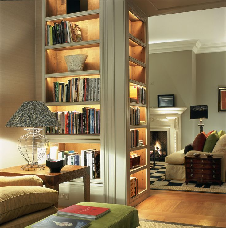 Lights in the book shelves! The white paint is ok with all this warmth and colour.