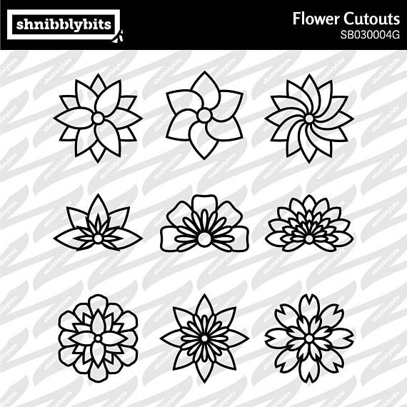 9 Flower Outline Cutouts This design is also available in a bundle deal here: https://www.etsy.com/listing/584717261/ PLEASE NOTE: This item is a digital package for use with a die-cut machine. No physical items will be sent to you. You will receive: One zip file containing this design