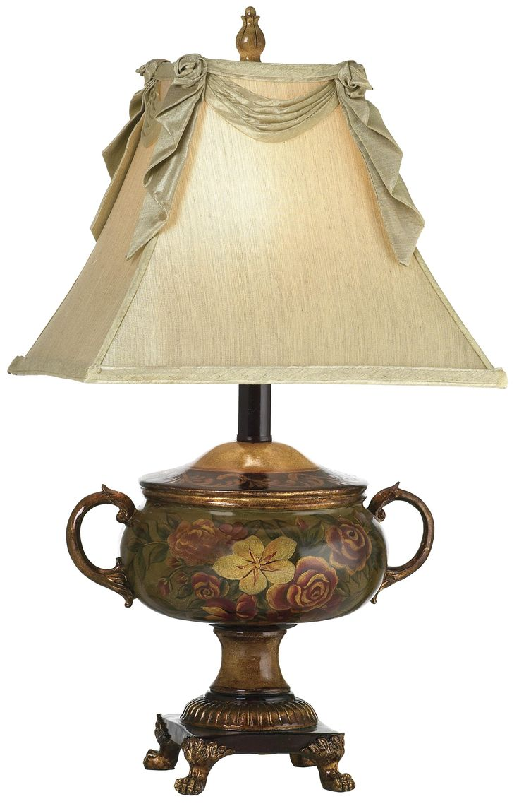 Antique wood table lamps - Hand Painted Sugar Bowl Table Lamp