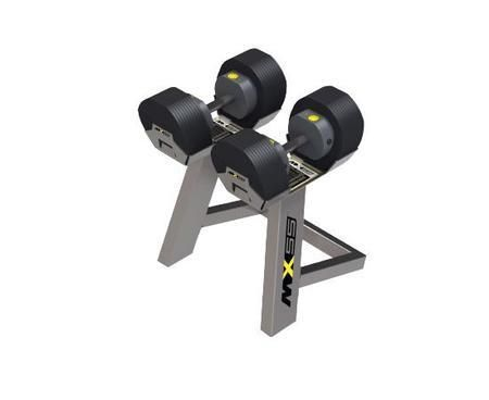 MX55 Adjustable Dumbbell Set with Two 55 lbs. Dumbbells One MX Stand and Unique Rack And Pinion Design in Black and Silver