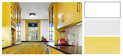 Χρωματα σε Μοντέρνα γραμμή με Λευκό ταβάνι , Τοίχους σε απαλό Γκρι και Παστέλ Κίτρινα τα έπιπλα κουζίνας.