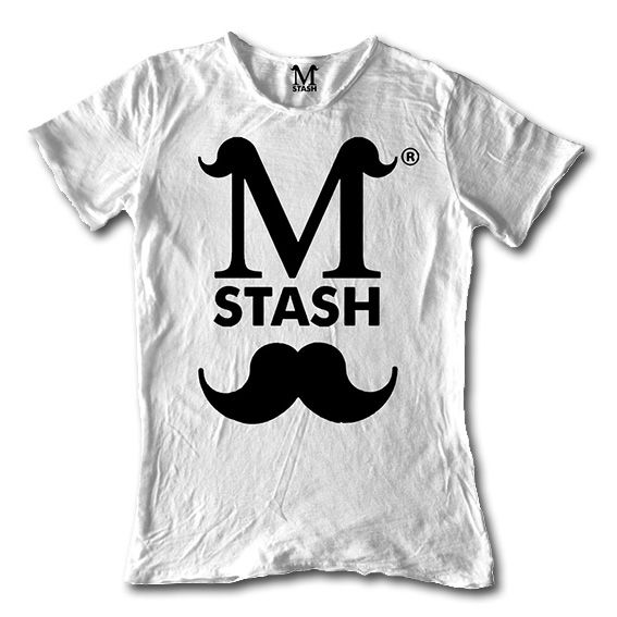 M01-00A // LOGO BLACK // round neck tee flaming fabric // 100% cotton made in Italy // #mstash #tshirt #mustache