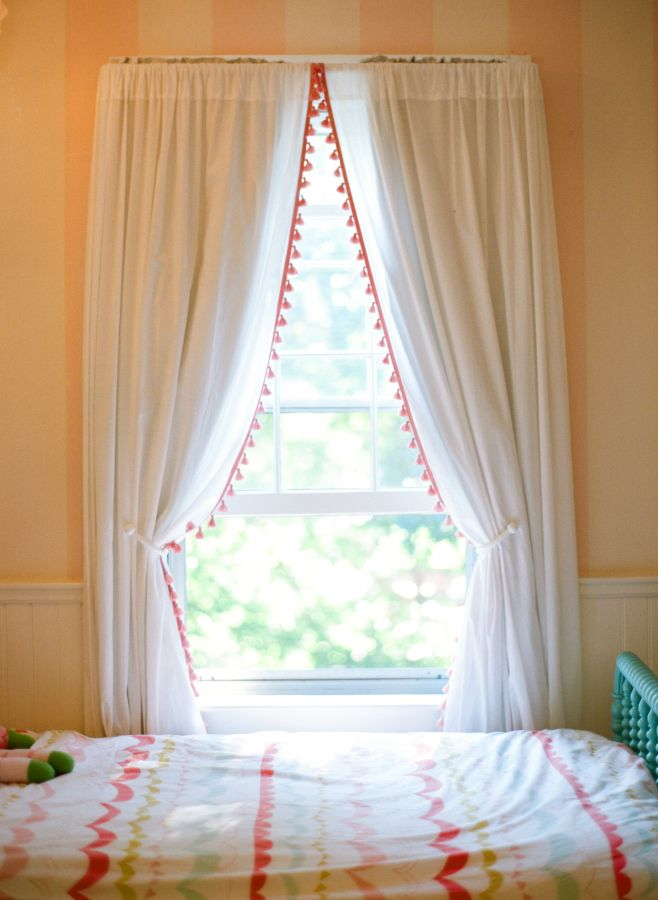 ... Girls Shared Toddler Bedroom. See More. Love The Poms On The Curtains.