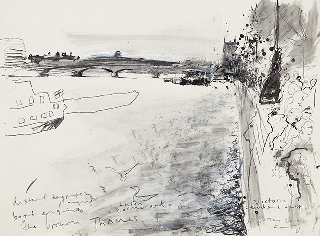 Brown Thames, Victoria Embankment. May 2010 in KURT JACKSON from The Redfern Gallery