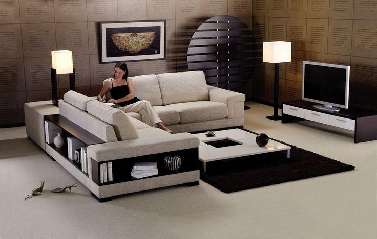 Canapé d'angle en cuir ou tissu avec biblio