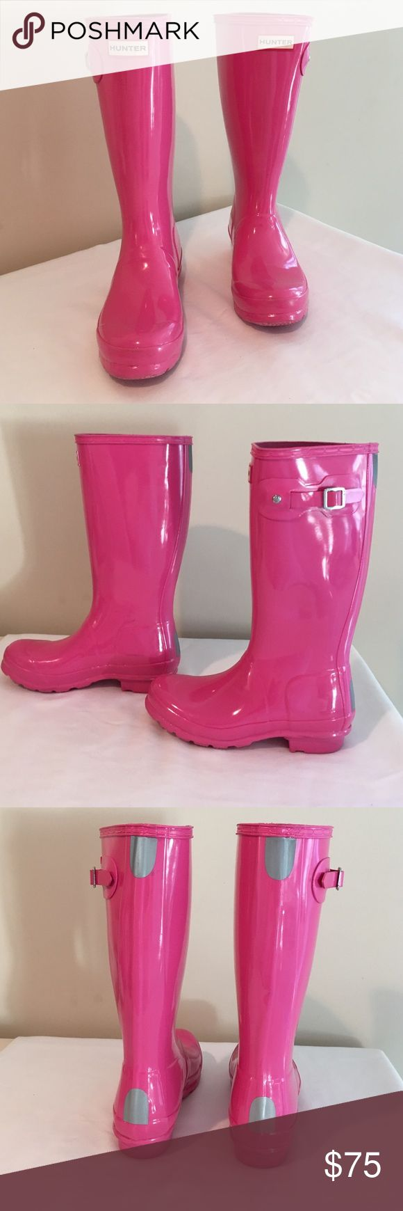 Hunter Hot pink Rain Boots! Worn once. Size 4/5. Hunter Shoes Winter & Rain Boots