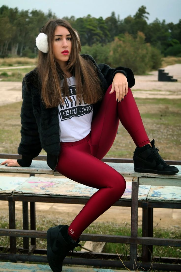 Antigoni wearing the cherry PCP leggings #pcpclothing #pcpleggings #pcpinia