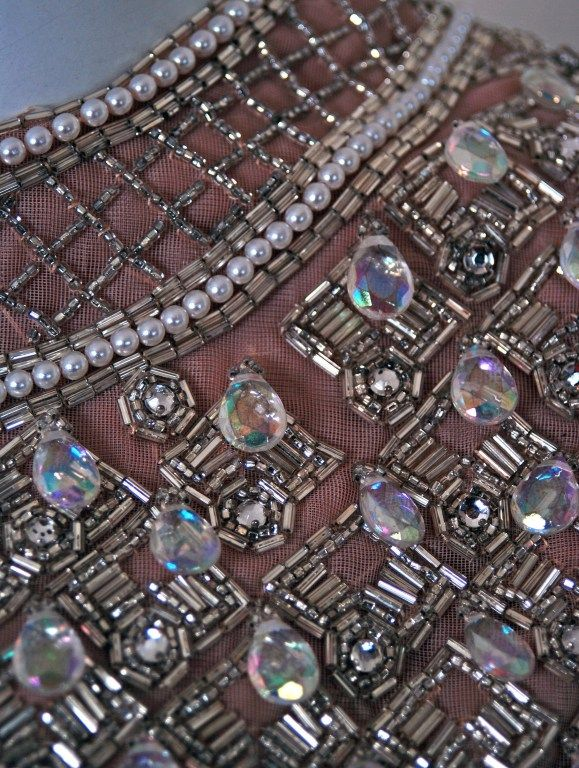 Embroidery detail of a 1960's Cocktail Dress.