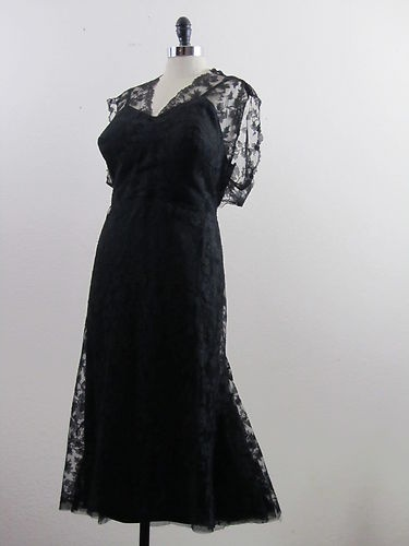 Vintage 40s 50s French Couture Dress