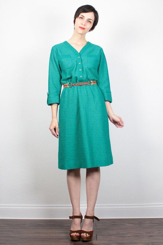Vintage Teal Green Dress 1970s Dress Midi by ShopTwitchVintage