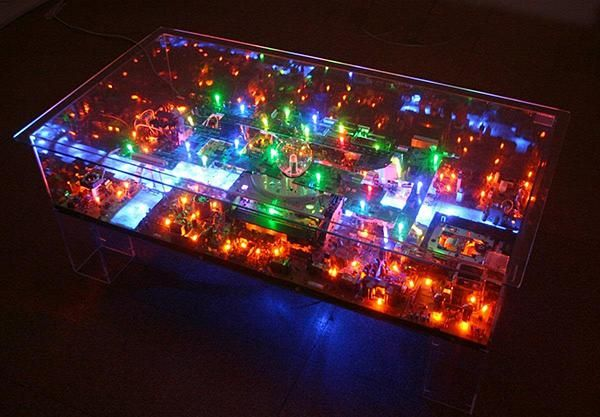 The Electri-City is a miniature city put together by used gadgets and electronic parts