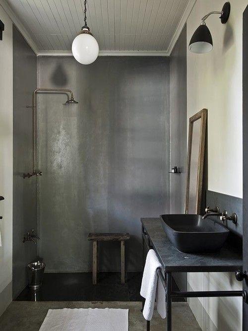 Schwarzes Metall Badezimmer Eitelkeit Mit Rohren Für Hängende Handtücher