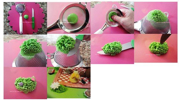 Using a sieve to make fondant grass