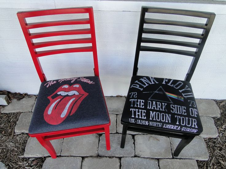 Rolling Stones and Pink Floyd chairs. Reupholstered in classic reproduction rock concert tee shirts.