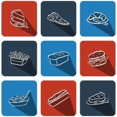 Ikon vektor makanan seni ilustrasi