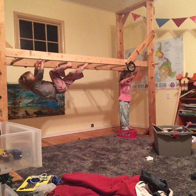 We take our indoor monkey bars away for spring and summer but bring them back as colder weather sets in. We put them up last night, much to their early morning delight. #MoveYourDNA #nutritiousmovement #dynamiclivingspace