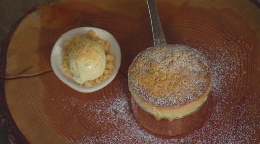 Lemon Curd Soufflé with Lemon Curd Ice Cream